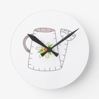 Watering Can Applique Round Clock