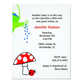 "Watering Can Baby Sprinkle Shower Invitation 4.25"" X 5.5"" Invitation Card"