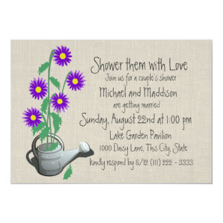 "Watering Can Couples Shower 5"" X 7"" Invitation Card"