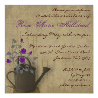 "Watering Can Floral Bridal Shower Invitation 5.25"" Square Invitation Card"