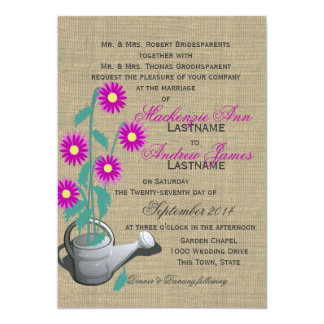 "Watering Can Garden Wedding 5"" X 7"" Invitation Card"