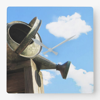 Watering Can Nearing Sunset Square Wall Clock
