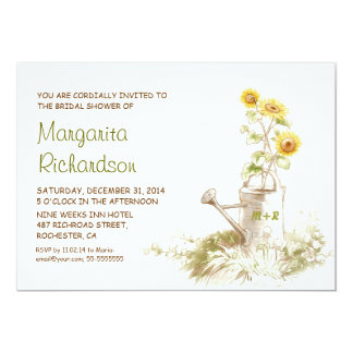 """Watering can with sunflowers bridal shower invites 5"""" x 7"""" invitation card"""