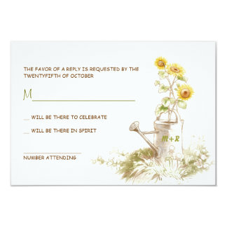 Watering can with sunflowers cute RSVP cards