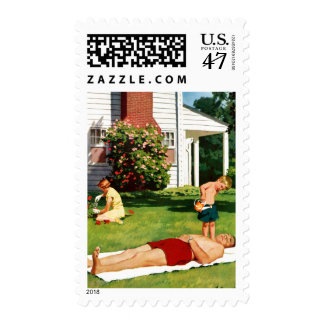 Watering Father Postage Stamp
