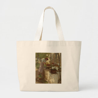 Watering Flowers from a Well Canvas Bags