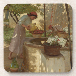 Watering Flowers from a Well Drink Coaster