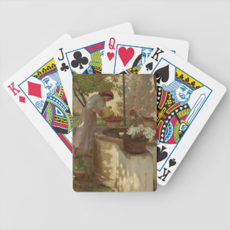 Watering Flowers from a Well Playing Cards