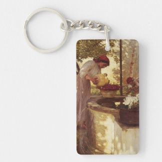 Watering Flowers From the Well Keychain