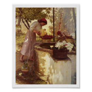 Watering Flowers From the Well Poster