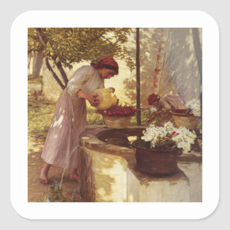Watering Flowers From the Well Square Sticker