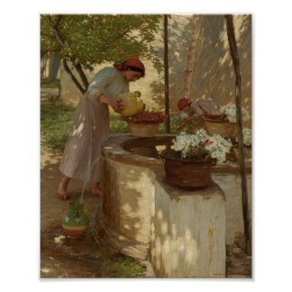 Watering Flowers from Well Poster