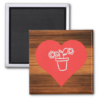 Watering Flowers Pictogram 2 Inch Square Magnet