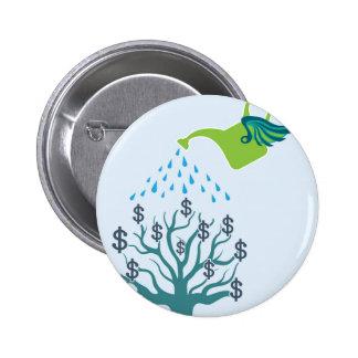Watering Money Tree Pinback Button