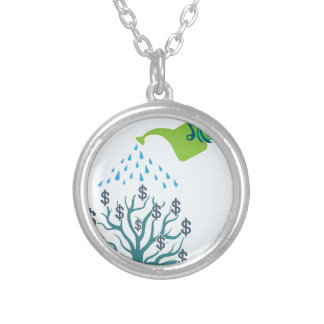 Watering Money Tree Silver Plated Necklace