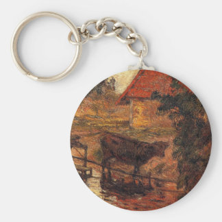 Watering place by Paul Gauguin Basic Round Button Keychain