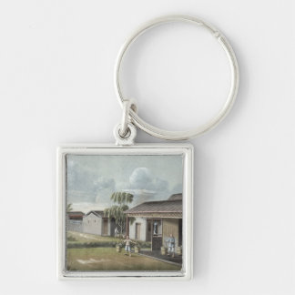 Watering tea plants (w/c on paper) keychain
