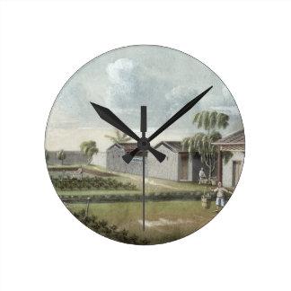 Watering tea plants (w/c on paper) round clock