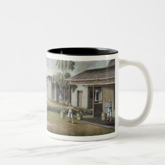 Watering tea plants (w/c on paper) Two-Tone coffee mug