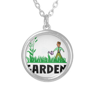 watering the garden silver plated necklace