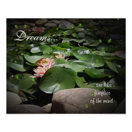 Waterlilies and fireflies watercolor with canvas t poster