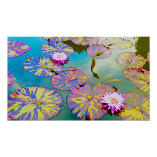 Waterlilies and Variegated Lilypads Poster