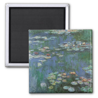 Waterlilies by Claude Monet, Vintage Flowers 2 Inch Square Magnet