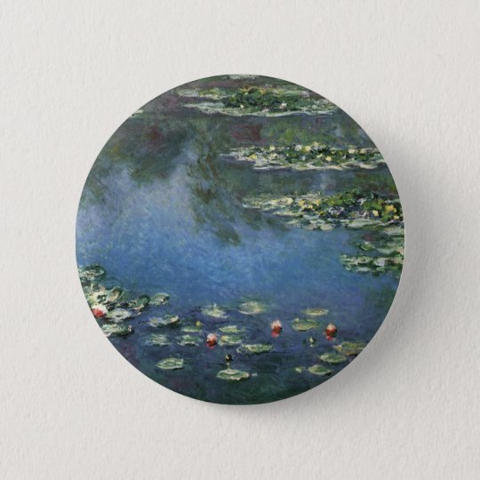 Waterlilies by Claude Monet, Vintage Flowers Button
