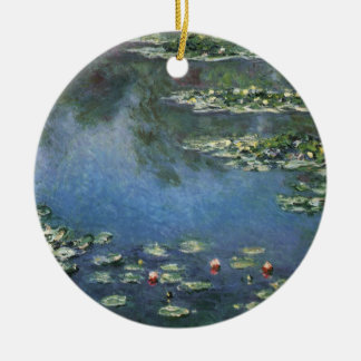 Waterlilies by Claude Monet, Vintage Flowers Ceramic Ornament