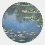 Waterlilies by Claude Monet, Vintage Flowers Classic Round Sticker
