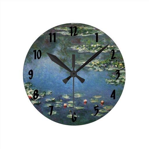 Waterlilies by Claude Monet, Vintage Flowers Round Clock
