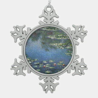 Waterlilies by Claude Monet, Vintage Flowers Snowflake Pewter Christmas Ornament