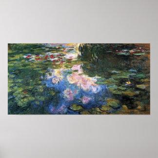 Waterlilies by Claude Monet, Vintage Garden Art Poster