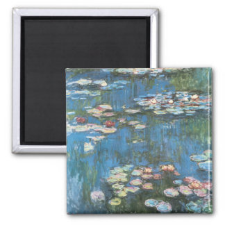Waterlilies by Claude Monet, Vintage Impressionism 2 Inch Square Magnet