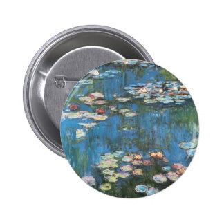 Waterlilies by Claude Monet, Vintage Impressionism Button