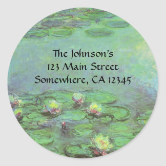 Waterlilies by Claude Monet, Vintage Impressionism Classic Round Sticker