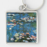 Waterlilies by Claude Monet, Vintage Impressionism Silver-Colored Square Keychain