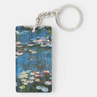 Waterlilies by Claude Monet, Vintage Impressionism Keychain