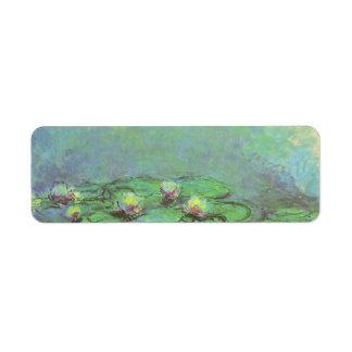 Waterlilies by Claude Monet, Vintage Impressionism Label
