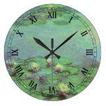 Waterlilies by Claude Monet, Vintage Impressionism Large Clock