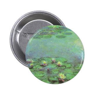 Waterlilies by Claude Monet, Vintage Impressionism Pinback Button