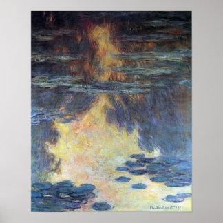 Waterlilies by Claude Monet, Vintage Impressionism Poster