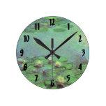 Waterlilies by Claude Monet, Vintage Impressionism Round Clock