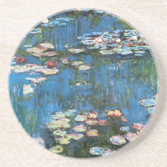 Waterlilies by Claude Monet, Vintage Impressionism Sandstone Coaster