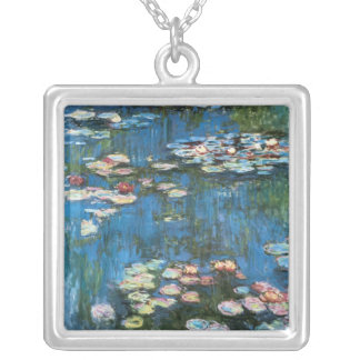 Waterlilies by Claude Monet, Vintage Impressionism Silver Plated Necklace
