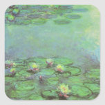 Waterlilies by Claude Monet, Vintage Impressionism Square Sticker