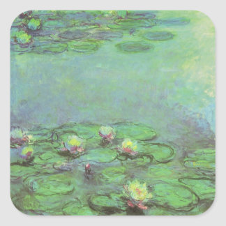 Waterlilies by Claude Monet, Vintage Impressionism Square Sticker