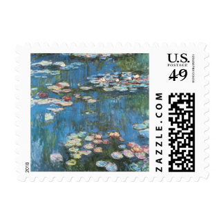 Waterlilies by Claude Monet, Vintage Impressionism Stamp