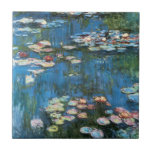 Waterlilies by Claude Monet, Vintage Impressionism Small Square Tile