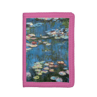 Waterlilies by Claude Monet, Vintage Impressionism Trifold Wallet